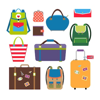 Bags and luggage in flat style set. baggage and travel, briefcase and case.