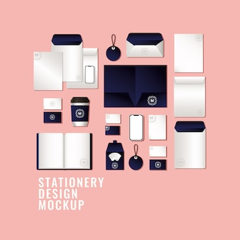 Bags and mugs mockup set with dark blue branding of corporate identity and stationery design theme