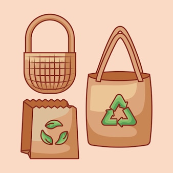 Bags paper with basket ecological and ribbon