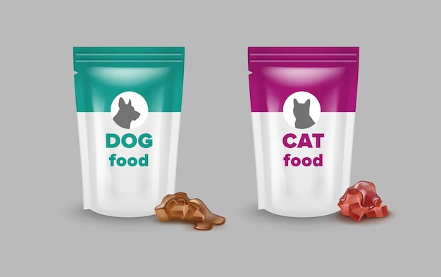 Bags of pet food for cats and dogs