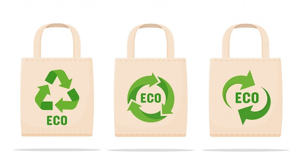 Bags reduce pollution the concept of the campaign to reduce the use of plastic bags with symbols for reuse.