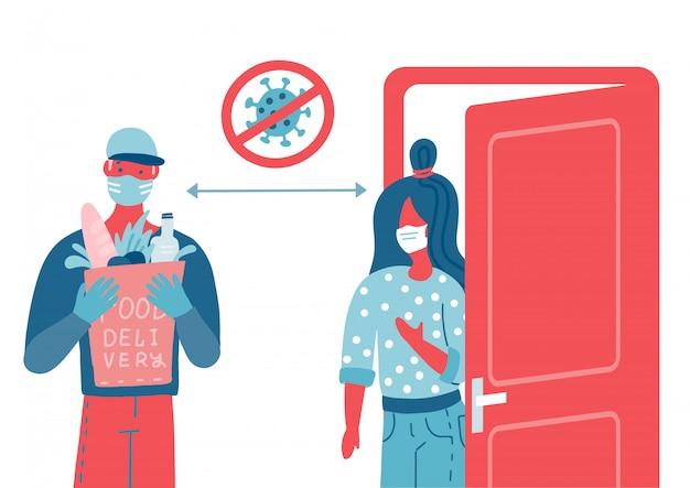 가방을 안전하게 배달합니다. 식료품 또는 상품 가방이있는 택배. 흰색 의료 마스크를 가진 사람. 코로나 바이러스가 유행하는 동안 택배 서비스의 개념입니다.