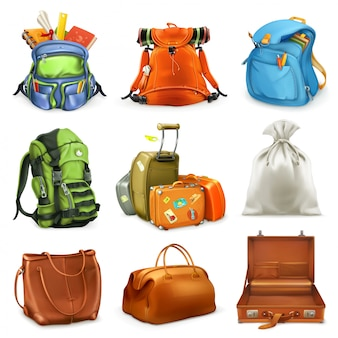 Bags set. backpack, schoolbag, suitcase, sack, 3d  icon