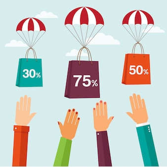 Bags shopping with parachute and sales flying in the sky