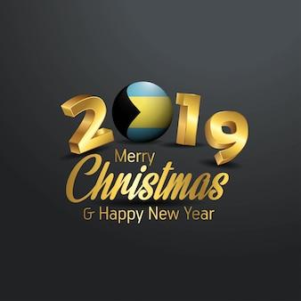Багамские острова флаг 2019 рождеством типография