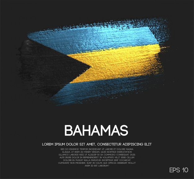 The bahamas flag made of glitter sparkle brush paint vector