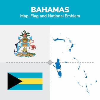 Bahamas map flag and national emblem