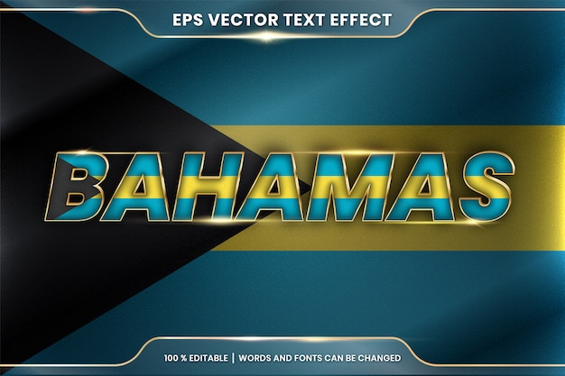 Bahamas with its national country flag, editable text effect style with gradient gold color concept