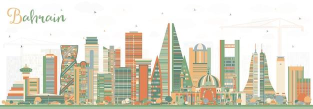 색상 건물과 바레인 도시의 스카이 라인. 벡터 일러스트 레이 션. 현대 건축과 비즈니스 여행 및 관광 개념입니다. 랜드마크가 있는 바레인 도시 풍경.