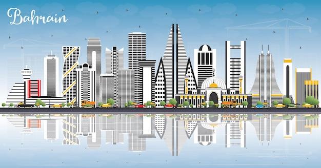 회색 건물, 푸른 하늘 및 반사와 바레인 도시의 스카이 라인. 벡터 일러스트 레이 션. 현대 건축과 비즈니스 여행 및 관광 개념입니다. 랜드마크가 있는 바레인 도시 풍경.