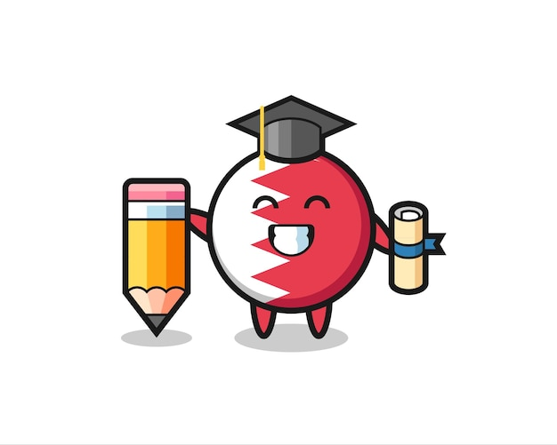 Bahrain flag badge illustration cartoon is graduation with a giant pencil , cute style design for t shirt, sticker, logo element
