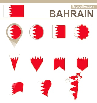 Bahrain flag collection, 12 versions