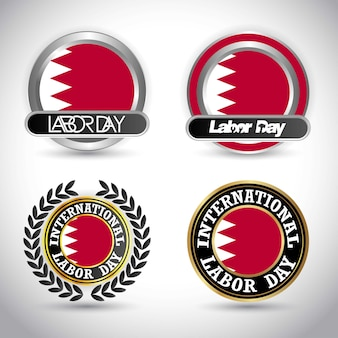 Bahrain flag with labour day design vector