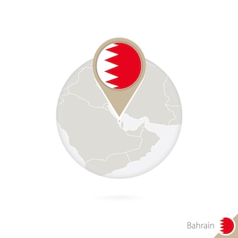 Bahrain map and flag in circle. map of bahrain, bahrain flag pin. map of bahrain in the style of the globe. vector illustration.
