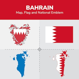 Bahrain map flag and national emblem