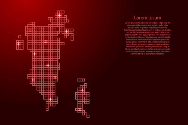 Бахрейн карта силуэт из красной мозаичной структуры квадратов и светящихся звезд. векторная иллюстрация.