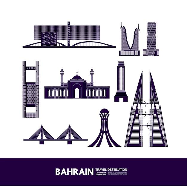Bahrain travel destination grand  illustration.