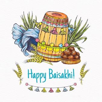Festival baisakhi con tamburi disegnati a mano