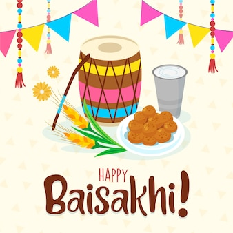 Batteria e cibo del festival indiano baisakhi