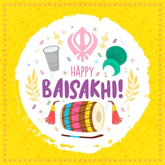 Baisakhi indian festival traditional elements hand drawn