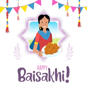 Baisakhi indian festival with woman and dessert