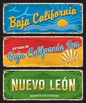 Baja california, baja california sur 및 nuevo leon 주석 표시