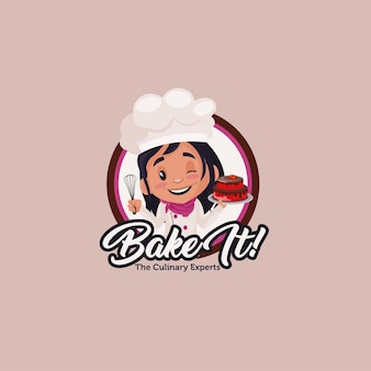 Bake it the culinary experts logo template
