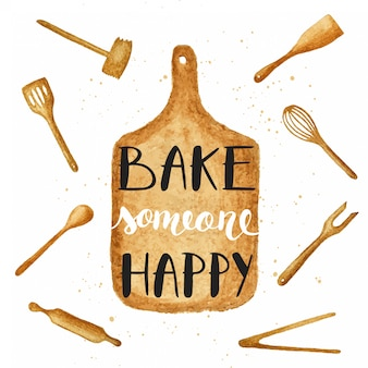 Bake someone happy on watercolor cutting board