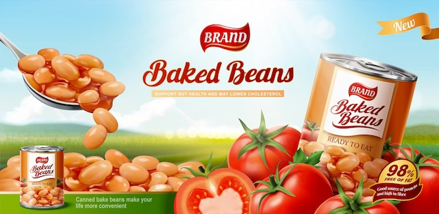 3d 그림에서 보케 자연 배경에 신선한 토마토와 구운 콩 광고