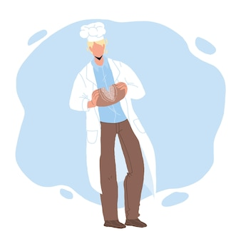 Baked bread breaking bakehouse worker chef vector. fresh bread nutrition holding baker man. character hold bakery cooked from dough food, delicious snack nourishment flat cartoon illustration