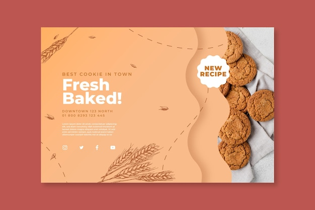 Baked cookies banner template with photo