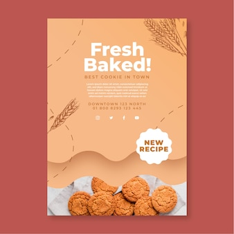 Baked cookies flyer template