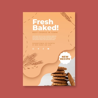 Baked cookies poster template with photo