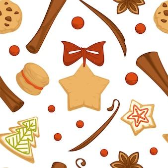 크리스마스를 위한 구운 진저브레드 쿠키, 크리스마스 축하를 위한 매끄러운 페이스트리 패턴. 상단에 유약이 있는 별과 소나무의 모양. 딸기와 계피와 아니스. 평면 스타일의 벡터
