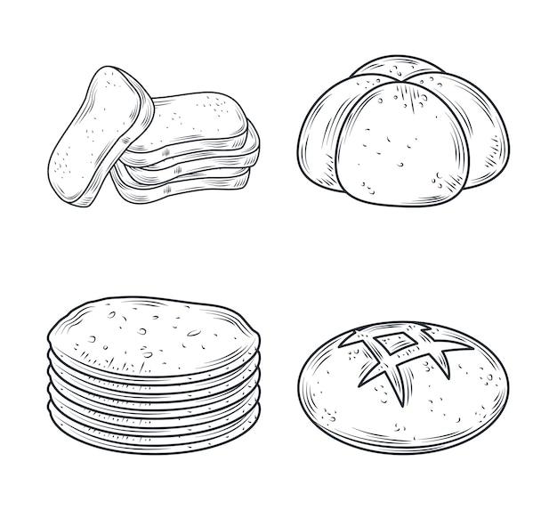 焼きアイコンセット、白いイラストで隔離のさまざまなパン