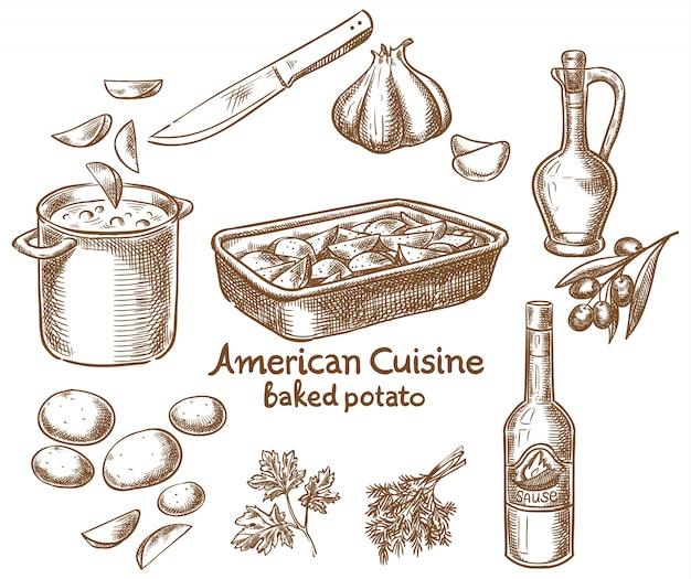 Запеченный картофель и ингредиенты