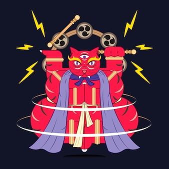 Bakeneko with raijin drums, japanese monster cat element on a black background