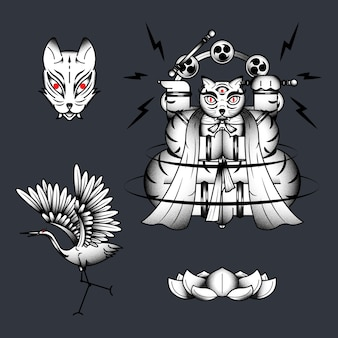 Bakeneko con tamburi raijin, elemento gatto mostro giapponese su sfondo scuro