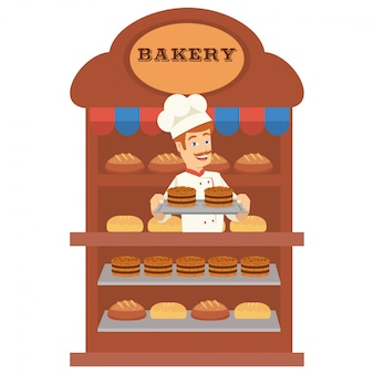A baker are sell many type of bread in the bakery