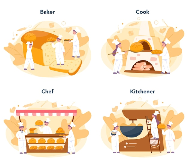 Baker and bakery concept set. chef in the uniform baking bread. baking pastry process. isolated vector illustration in cartoon style