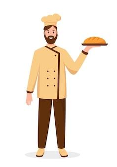 Бейкер персонаж со свежим хлебом, изолированные на белом фоне концепция людей профессии