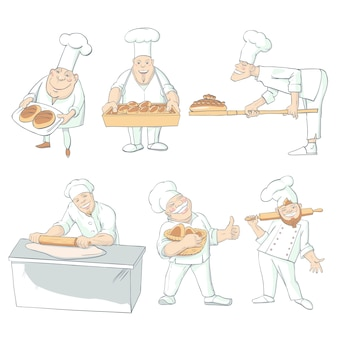 Baker drawn characters isolated set
