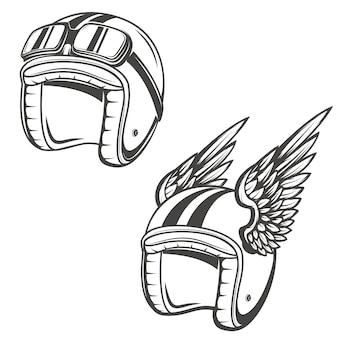 날개를 가진 베이커 헬멧. 로고, 라벨, 엠 블 럼, 사인, 포스터, 티셔츠 요소.