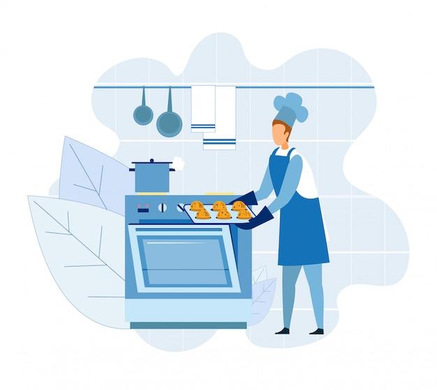 Шеф-повар бейкер приготовления кексов или кексов