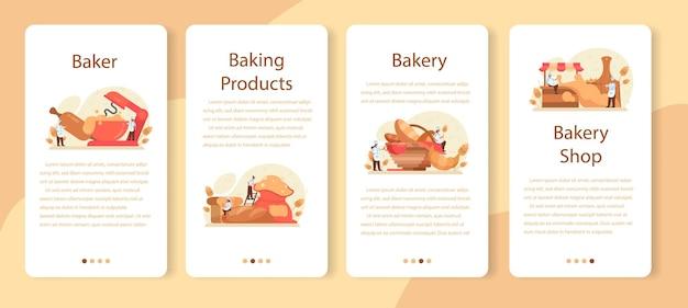 Набор шаблонов мобильного приложения бейкер. повар в униформе выпечки хлеба. процесс выпечки теста. работник пекарни и кондитерские изделия. отдельные векторные иллюстрации