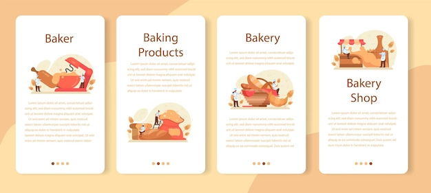 Baker mobile application template set. chef in the uniform baking bread. baking pastry process. bakery worker and pastries goods. isolated vector illustration