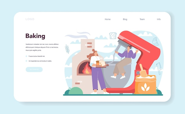 Baker web banner or landing page. chef in the uniform baking bread