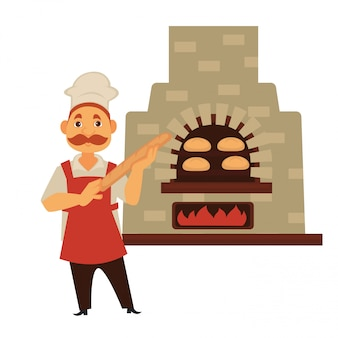 Baker with mustache and baguette stands near brick stove
