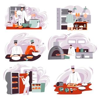 식당, 카페 또는 레스토랑의 주방에서 빵과 패스트리를 굽는 베이커. 제과점 또는 제과 제품이 있는 상점. 냄비와 요리를 만들기 위한 재료를 가진 요리사. 평면 스타일의 벡터