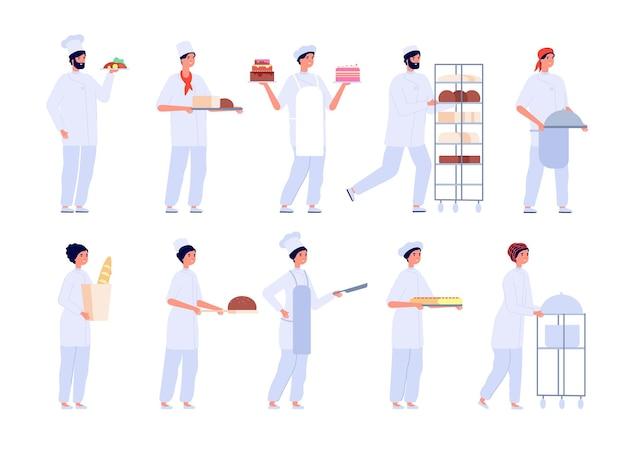 ベイカーのキャラクター。漫画のかわいい女の子はケーキを焼く。フラットなプロのシェフによるベーキング。ベーカリー、菓子、パン、ベクトルセットを調理する人々。ケーキとパン屋の料理、ベーキングデザートまたはペストリーのイラスト